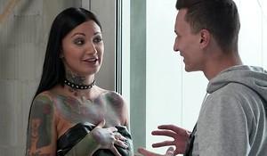Inked brunette near huge lustful zeal gets facsimile screwed