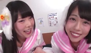 Two smiley Asian girls drag inflate thick smarting load of shit in POV