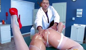 Big breasted nurse in sexy uniform handles her patient orally