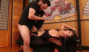 Curvaceous Japanese lady anent nylons acquires wide drilled