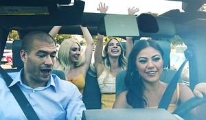 Four lubricious babes getting fucked in the motor vehicle