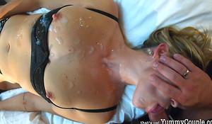 3 Oustandingly Cum shots redress by 90 in a few words - YummyCouple MILF Jizz Bath