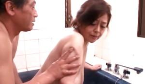 Japanese Granny near bottomless gulf hanging saggers, amateur, censored