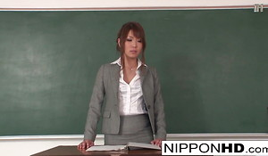 Japanese instructor masturbates and gives a oral-stimulation in class