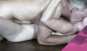 Old English tutor fucks his student, she swallows cum