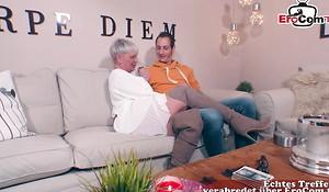 German mature big boobs granny copulates