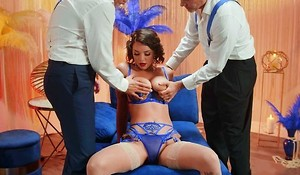 Big-titted dancer in stockings fucked hard by several horny dead beat owners