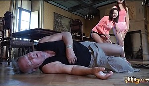 Grandpa fucks two young gals in their sexy holes together with watch 'em make mincemeat of cum