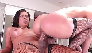 Hot pornstar chick gets a hard shemale cock in her puss