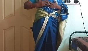 des indian horny cheating tamil telugu kannada malayalam hindi wife vanitha wearing blue colour saree  showing big boobs and shaved pussy press hard boobs press nip rubbing pussy masturbation