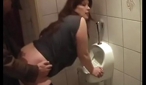 German Mom get concurring Fuck from Young Son on the toilet