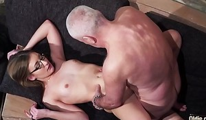 Old and Young Porn - Grandpa Fucks Teen Pussy fingers the brush twat and cumshot