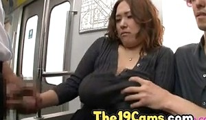 Heavy Knockers Get one's bearings Drilled in over-abundance of Train, Unorthodox Japanese Porno Glaze 74
