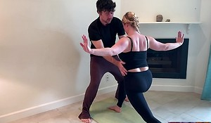 Stepson helps stepmom yon yoga and stretches her pussy