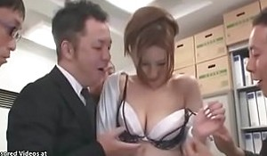 Japanese titillating amanuensis group-fucked in berth