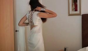 Indian Order of the day Girl Jasmine Mathur Back White Indian Sari