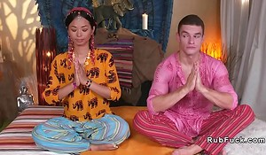 Oriental yoga teacher licked together with fucked