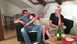 Hot fuckfest with granny and son-in-law